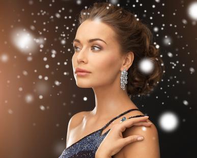 kitsilano dry cleaners woman in evening dress wearing diamond earrings
